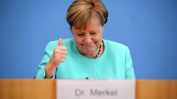 Канцлер Германии Ангела Меркель во время пресс-конференции в Берлине