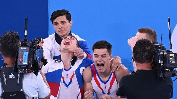 Российские гимнасты Артур Далалоян, Давид Белявский,  Никита Нагорный  и Денис Аблязин (слева направо)