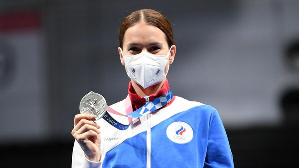 Российская спортсменка, член сборной России (команда ОКР) Софья Великая, завоевавшая серебряную медаль на соревнованиях по фехтованию на саблях среди женщин на XXXII летних Олимпийских играх.
