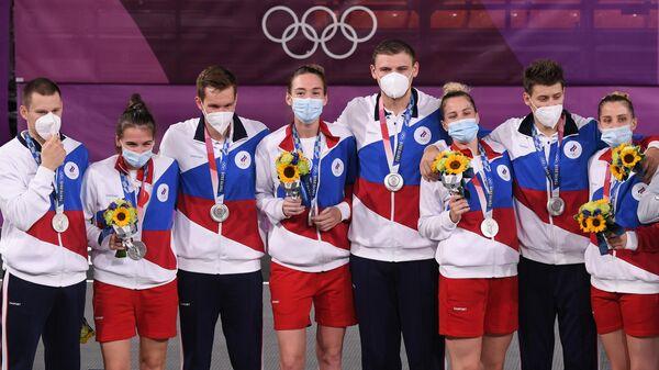 Члены мужской и женской сборной России по баскетболу 3х3