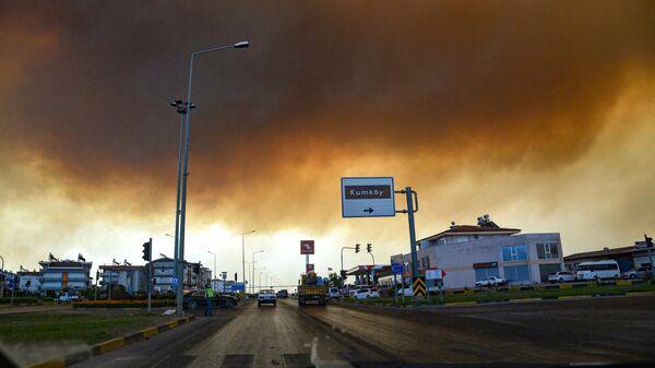 Дым от лесных пожаров в Манавгате, провинция Анталья, Турция