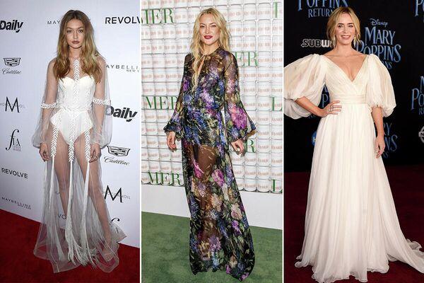 Джиджи Хадид, Кейт Хадсон и Эмили Блант в платьях от российского модного дома YANINA