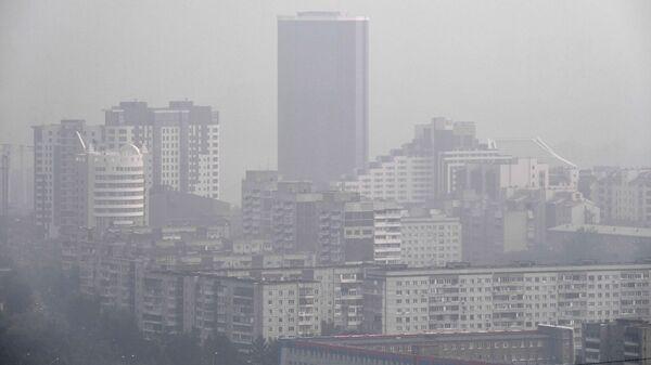 Вид с Караульной сопки на здания центральной части города Красноярска