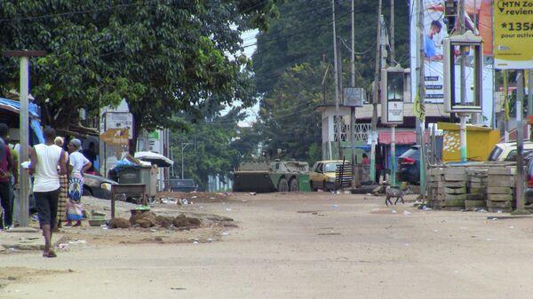 Бронетранспортер Гвинейской армии во время правительственного переворота в Конакри, Гвинея