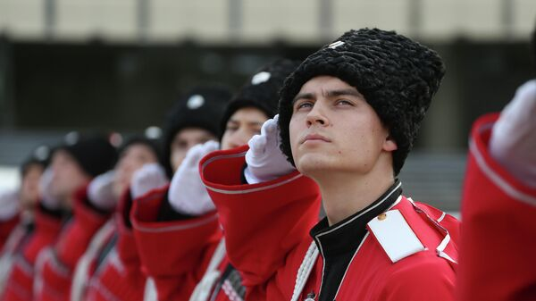Торжественная церемония поднятия Государственного флага Российской Федерации казаками почётного караула Кубанского казачьего войска