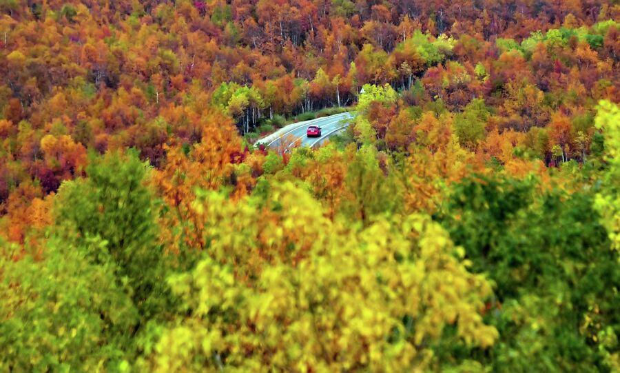 Автомобиль едет по дороге, связывающей Мурманск и село Териберка