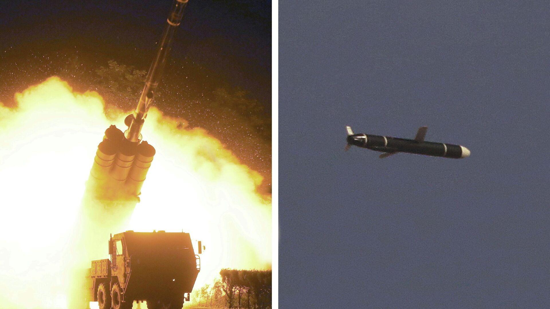 Испытание крылатых ракет большой дальности в Северной Корее - РИА Новости, 1920, 15.09.2021