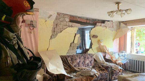 На месте взрыва газа в жилом доме в Верхней Пышме под Екатеринбургом