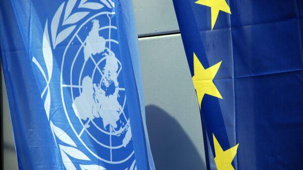Флаги Евросоюза и НАТО. Архивное фото.