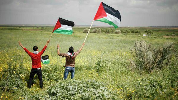Протестующие с палестинскими флагами возле израильской границы. 30 марта 2014