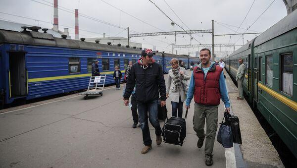 Платформа Киевского вокзала в Москве. Архивное фото
