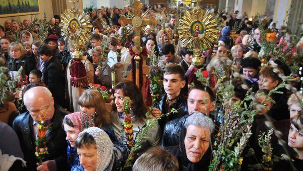 Вербное воскресенье во Львовской области. Архивное фото