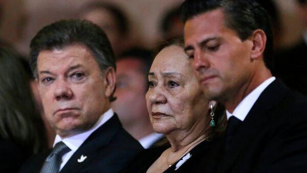 Президент Колумбии Сантос, вдова Маркеса Мерседес Барча и президент Мексики Ньето