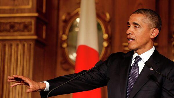 Президент США Барак Обама во время официального визита в Токио. 24 апреля 2014