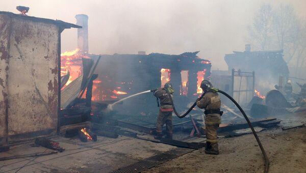 Пожар в городе Черемхове Иркутской области
