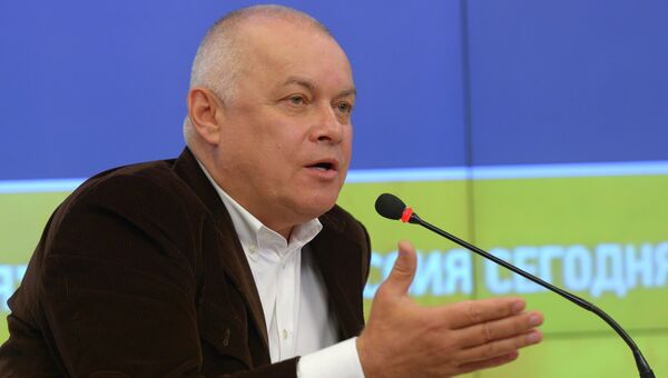 Генеральный директор Международного информационного агентства Россия сегодня Дмитрий Киселев во время мультимедийной презентации портала Украина.РУ