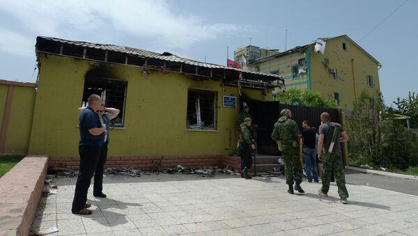 Контрольно-пропускной пункт погранзаставы Луганска, взятой под контроль ополченцами этой ночью