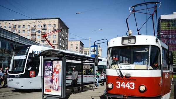 Трамваи в Москве. Архивное фото