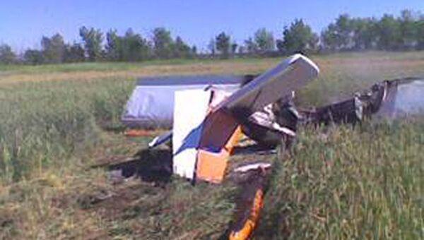 На месте крушения легкомоторного самолета марки СП-30 в Саратовской области. Архивное фото