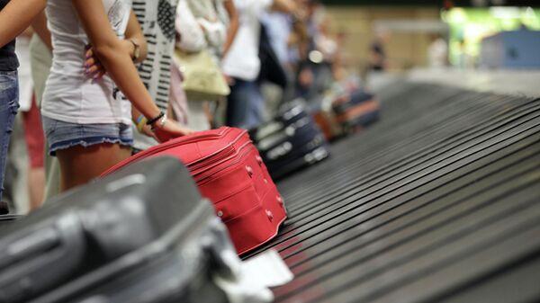 Туристы с чемоданами в аэропорту. Архивное фото