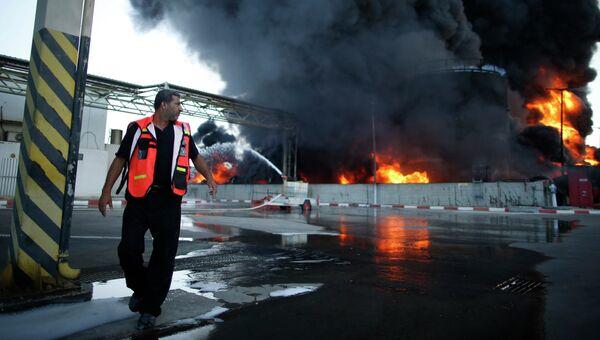 Пожар на электростанции в секторе Газа