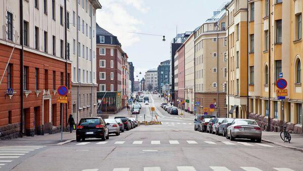 На одной из улиц в Хельсинки . Архивное фото