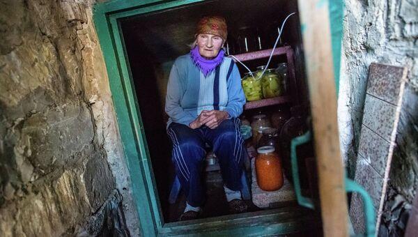 Жительница поселка Семеновка в погребе, в котором она пережидает артиллерийские обстрелы