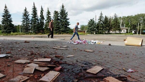 Ситуация в Макеевке, пострадавшей в результате обстрела силовиками, Донецкая область, Украина