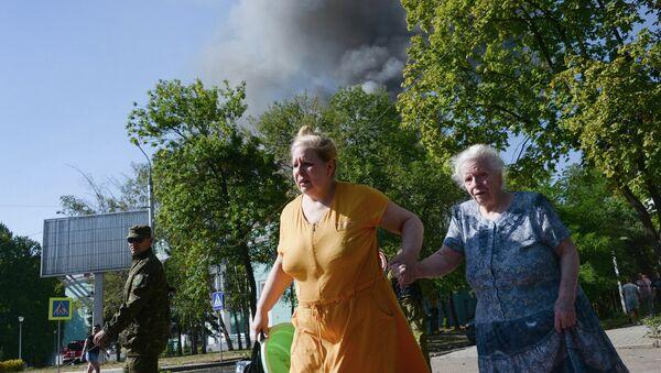 Жители Донецка во время обстрела города