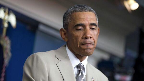 Президент США Барак Обама на пресс-конференции в Белом доме