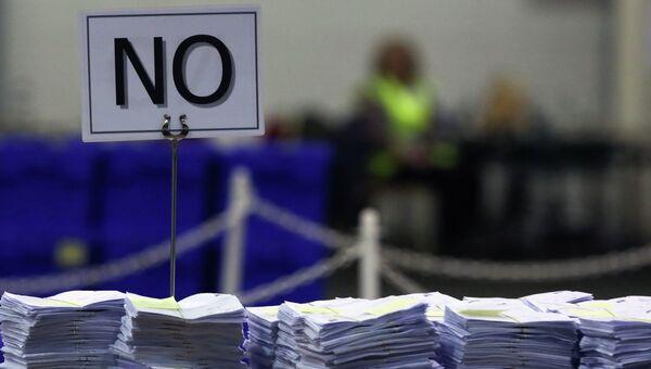 Бюллетени проголосовавших против отделения Шотландии от Британии. Архивное фото