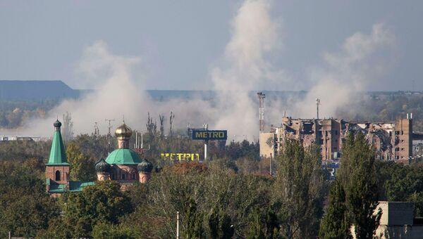 После обстрела аэропорта в Донецке на востоке Украины