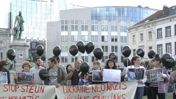 Черные воздушные шары вынесли на улицы Брюсселя в память об одесской трагедии