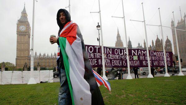 Сторонник признания палестинского государства возле здания парламента в Лондоне 13 октября 2014