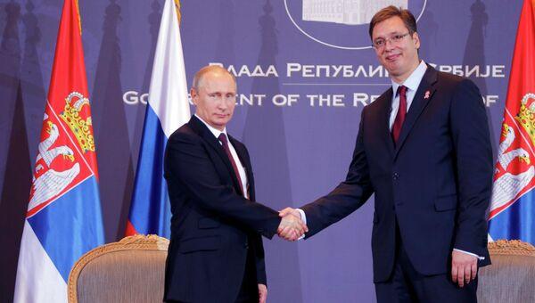 Президент России Владимир Путин и премьер-министр Сербии Александр Вучич