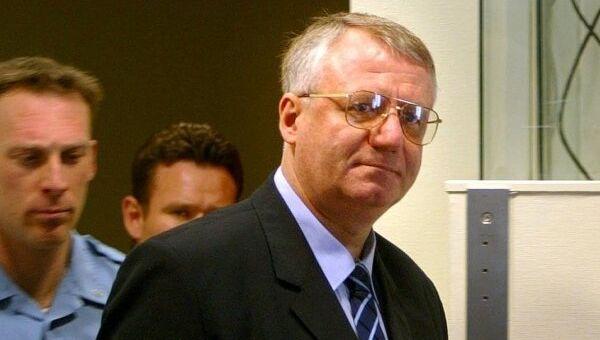 Лидер Сербской радикальной партии Воислав Шешель в Гаагском трибунале. Архивное фото