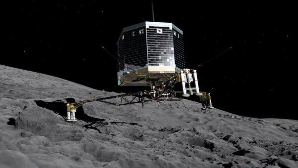 Изображение приземления модуля Фила на ядро кометы Чурюмова-Герасименко