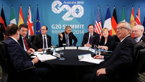 Барак Обама, Франсуа Олланд,Ангела Меркель, Дэвид Кэмерон, Маттео Ренци, Мариано Рахой, Херман ван Ромпей, Жан Клод Юнкер перед встречей по Украине 16 ноября 2014 года