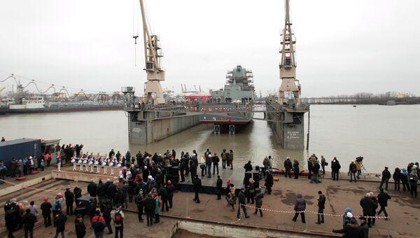 Спуск на воду фрегата Адмирал флота Касатонов в Санкт-Петербурге