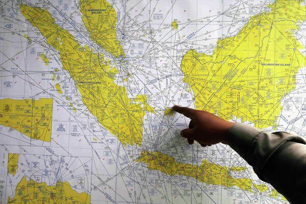 Карта с предпологаемым местом исчезновения рейса QZ8501 компании Air Asia