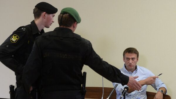 Оппозиционный политик Алексей Навальный во время рассмотрения апелляционных жалоб по делу Кировлеса в Кировском областном суде. Архив