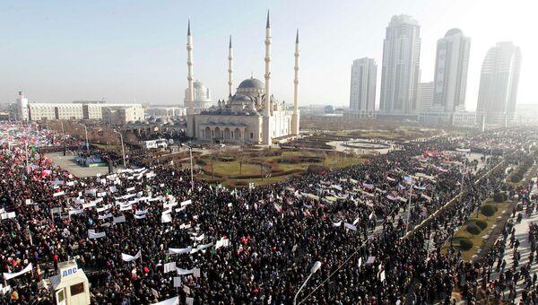 Митинг под названием Любовь к пророку Мухаммеду в Грозном. 19 января 2015