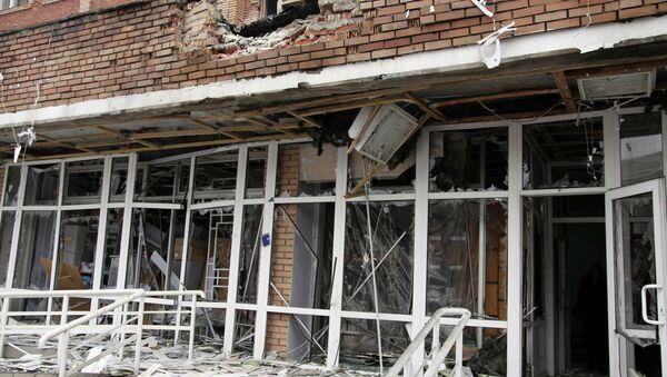 Больница в Донецке, поврежденная в результате обстрела украинской армией