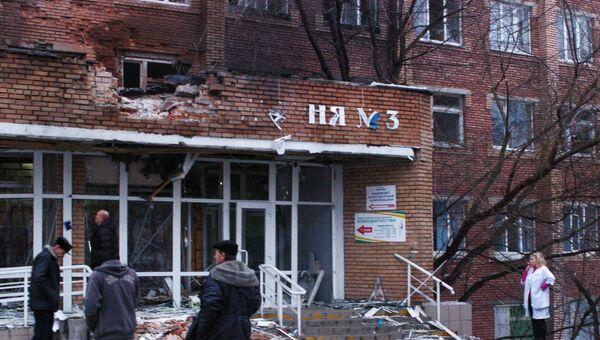 Артиллерийский снаряд попал в одну из больниц Донецка