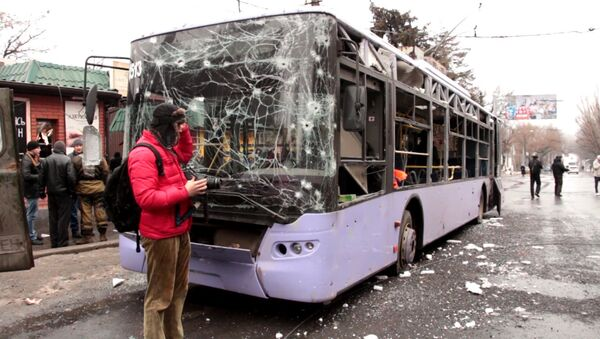 Обстрел в остановки в Донецке