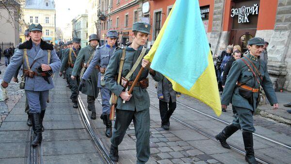 Историческая реконструкция событий ноября 1918 года, когда была провозглашена Западно-Украинская Народная Республика (ЗУНР) во Львове.