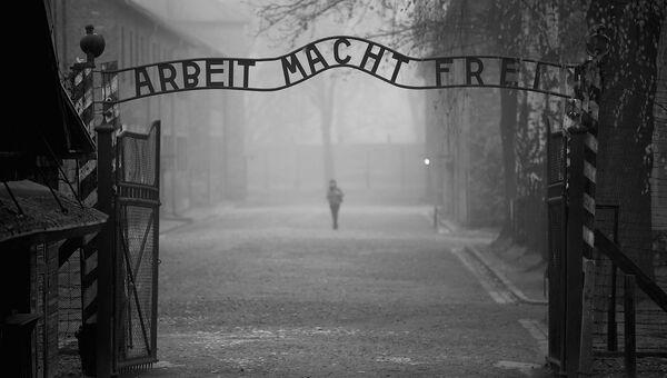 Ворота на входе в лагерь Освенцим. Архивное фото
