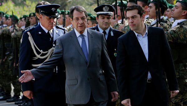 Президент Кипра Никос Анастасиадис и премьер-министр Греции Алексис Ципрас во время встречи. 2 февраля 2015