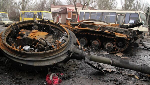 Сгоревшая техника в Углегорске