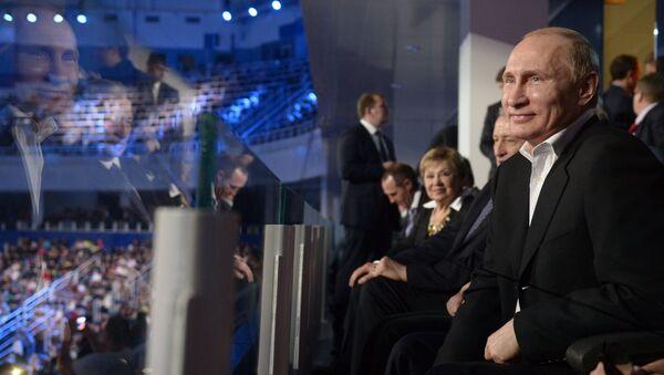 Президент России Владимир Путин на ледовом шоу Сочи. Город после Игр во Дворце зимнего спорта Айсберг в Сочи